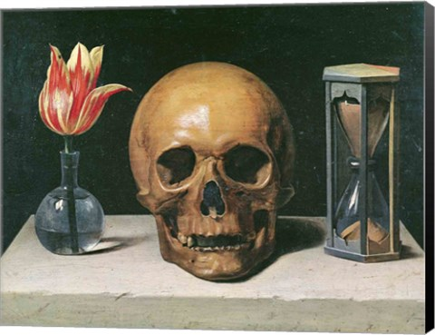 Vanitas Still Life With A Tulip Skull And Hour Glass Fine Art Print By Philippe De Champaigne