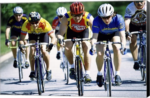 Group of cyclists riding bicycles