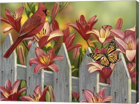 Cardinal And Lilies Fine Art Print By William Vanderdasson