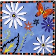 Daisies And Butterflies-Blue Fine-Art Print