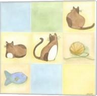 Tic-Tac Cats In Blue Fine-Art Print