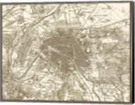 Sepia Map Of Paris Fine-Art Print
