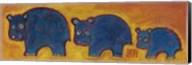 Famille Hippopotame Bleus Fine-Art Print