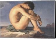 Jeune Homme nu Assis au Boro de la Mer Fine-Art Print