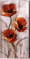 Red Poppies on Taupe I Fine-Art Print