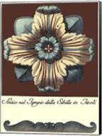 Aqua & Brown Rosette I Fine-Art Print