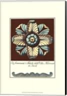 Aqua & Brown Rosette III Fine-Art Print