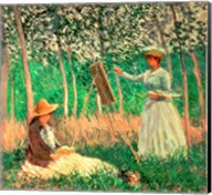 In the Woods at Giverny: Blanche Hoschede at her easel with Suzanne Hoschede reading, 1887 Fine-Art Print