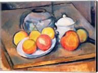 Straw-covered vase, sugar bowl and apples, 1890-93 Fine-Art Print