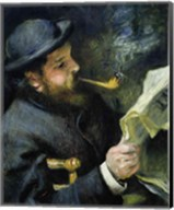 Claude Monet reading a newspaper Fine-Art Print