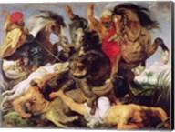 Hippopotamus and Crocodile Hunt Fine-Art Print