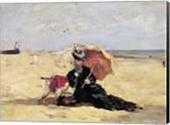 Woman with a Parasol on the Beach, 1880 Fine-Art Print