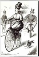 Cartoon of a Lady on a Velocipede, 1869 Fine-Art Print