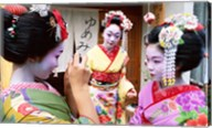 Three geishas, Kyoto, Honshu, Japan (three women) Fine-Art Print