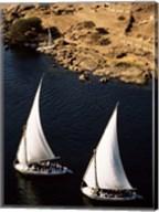 Two sailboats, Nile River, Egypt Fine-Art Print