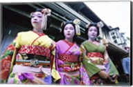 Three geishas, Kyoto, Japan Fine-Art Print