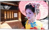 Geishadressed in a kimono, Kyoto, Honshu, Japan Fine-Art Print