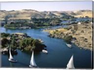 Sailboats In A River, Nile River, Aswan, Egypt Landscape Fine-Art Print