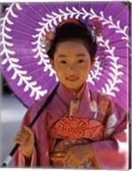 Portrait of a girl holding a parasol, Shichi Go San, Japan Fine-Art Print