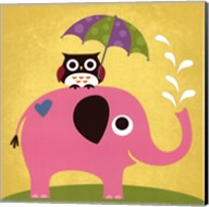 Elephant and Owl with Umbrella Fine-Art Print