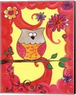 Owl In Pink Swirl Fine-Art Print