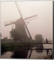 Windmill and Cyclist, Zaanse Schans, Netherlands black and white Fine-Art Print
