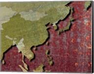 Close-up of a world map - red Fine-Art Print