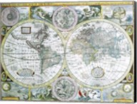 Close-up of a world map, John Speed, 1626 Fine-Art Print