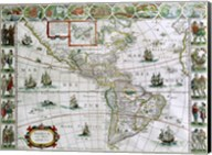 Map of North and South America, Joan Bleau, 1630 Fine-Art Print