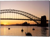 Sunrise over a bridge, Sydney Harbor Bridge, Sydney, Australia Fine-Art Print