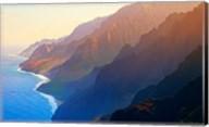 Mountain range at sunrise, Na Pali Coast, Kauai, Hawaii, USA Fine-Art Print