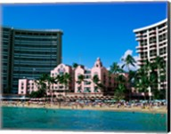 Hotel on the beach, Royal Hawaiian Hotel, Waikiki, Oahu, Hawaii, USA Fine-Art Print