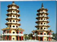 Facade of a pagoda, Dragon and Tiger Pagoda, Lotus Lake, Kaohsiung, Taiwan Fine-Art Print