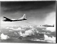 Side profile of a military tanker airplane refueling in flight, B-29 Superfortress, F-84 Thunderjet Fine-Art Print