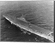 High angle view of an aircraft carrier in the sea, USS Princeton (CV-37), Gulf of Paria Fine-Art Print