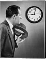 Businessman looking at clock Fine-Art Print