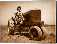 Farmer Plowing a Field with a Tractor Fine-Art Print