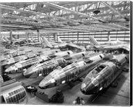 Incomplete Bomber Planes on the Final Assembly Line in an Airplane Factory, Wichita, Kansas, USA Fine-Art Print