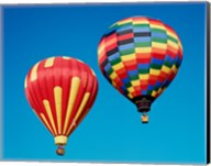 2 Rainbow Hot Air Balloons Floating Together Fine-Art Print
