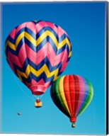 Hot Pink and Navy Blue Air Balloon Floating in the Sky Fine-Art Print