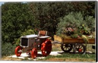 Tractor with a wagon filled with flowers, Provence, Provence-Alpes-Cote d'Azur, France Fine-Art Print