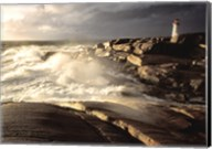 Waves crashing against rocks, Peggy's Cove Lighthouse, Peggy's Cove, Nova Scotia, Canada Fine-Art Print