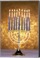 Close-up of lit candles on a menorah Fine-Art Print