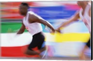 Side profile of two young men passing a relay baton Fine-Art Print