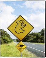 Close-up of animal crossing sign on a roadside, Australia Fine-Art Print