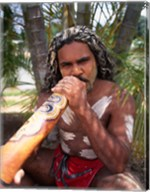 Pamagirri aborigine playing a didgeridoo, Australia Fine-Art Print