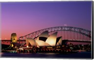 Opera house lit up at night, Sydney Opera House, Sydney Harbor Bridge, Sydney, Australia Fine-Art Print
