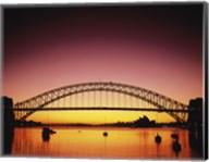 Silhouette of a bridge across a harbor, Sydney Harbor Bridge, Sydney, New South Wales, Australia Fine-Art Print