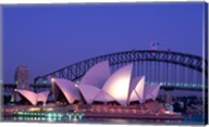 Opera house lit up at dusk, Sydney Opera House, Sydney Harbor Bridge, Sydney, Australia Fine-Art Print