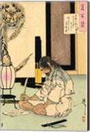 Akashi Gidayu writing his death poem before comitting Seppuku Fine-Art Print